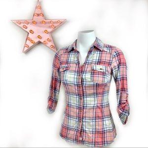 GARAGE Pink Plaid Button Up Top XS